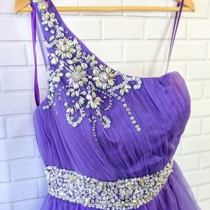 May Queen Couture Purple Rhinestone Tulle Dress